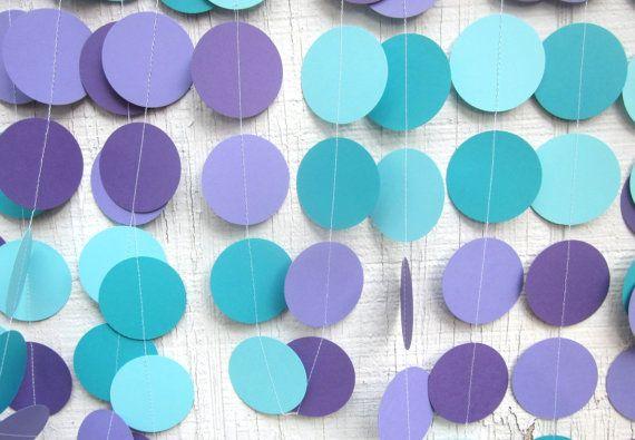 Guirnalda de círculos de papel turquesa y por DelightfulSewNSew