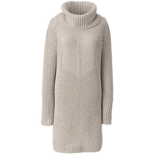 Lands' End Women's Merino Blend Cowl Neck Sweater Dress - Shaker ($99) ❤ liked on Polyvore featuring dresses, chunky knit sweater dress, pink sweater dress, pink dress, lands end dresses and cowl neck dress