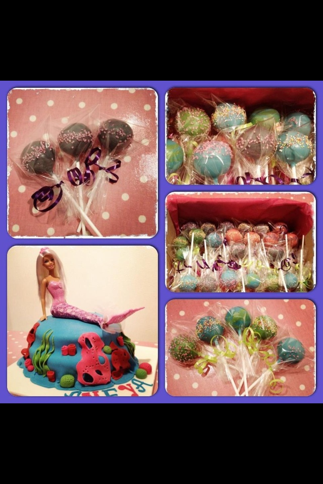 Mermaid cake & matching under the sea themed cake pops to match