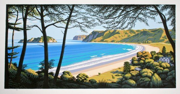 'Anaura Bay' by Tony Ogle, NZ. Screenprint of lovely NZ beach, ocean and bush. 950NZD. (Nov 2013)
