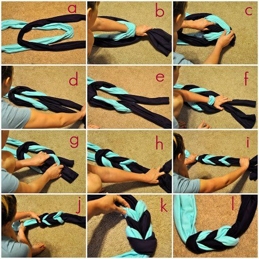 ♥✤♥Stunning #DIY -Jersey Braided #Scarf ♥✤♥ @Kayla Meyer @Keight Dukes @putapuredukes Pick 2 colored jersey fabrics, braid them together and sew. When you make your own DIY #clothing articles and accessories, you're really adding a unique and personal touch to your #wardrobe . And lets face it, it's fun! DIY is all the rage now. So, if you're feeling #crafty on a Sunday afternoon, here are some DIY ideas to create cute, one-of-a-kind looks #Art #artwork #OMG #Funny #Fun #amazing