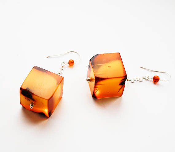 Huge Baltic amber earrings 26g.