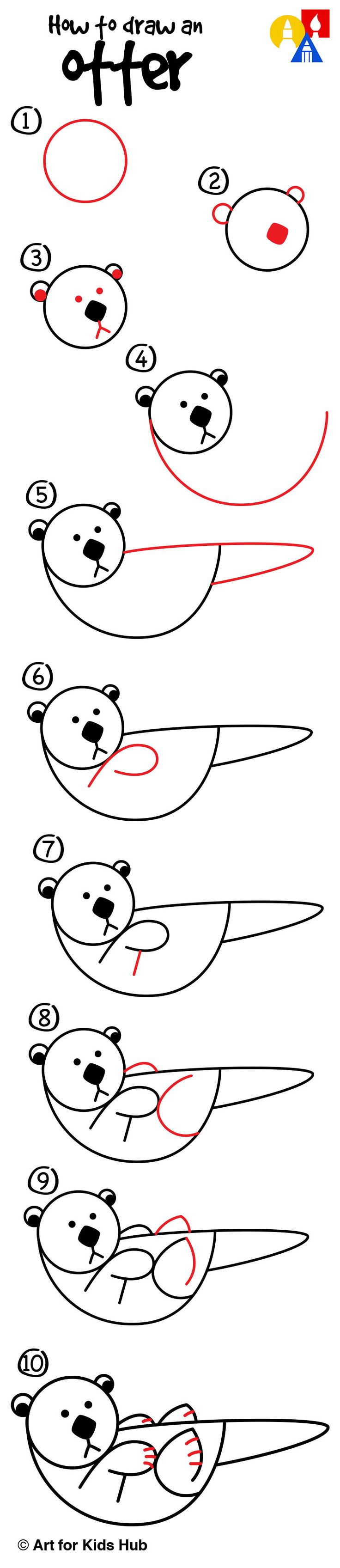 How To Draw An Otter With Shapes  Art For Kids Hub
