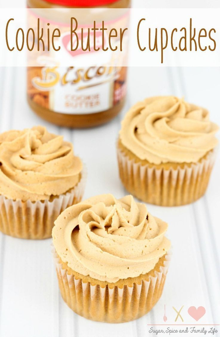 Cookie Butter Cupcakes with Cookie Butter Frosting is a delicious cookie butter dessert that any cookie butter lover will devour. - Cookie Butter Cupcakes with Cookie Butter Frosting Recipe on Sugar, Spice and Family Life
