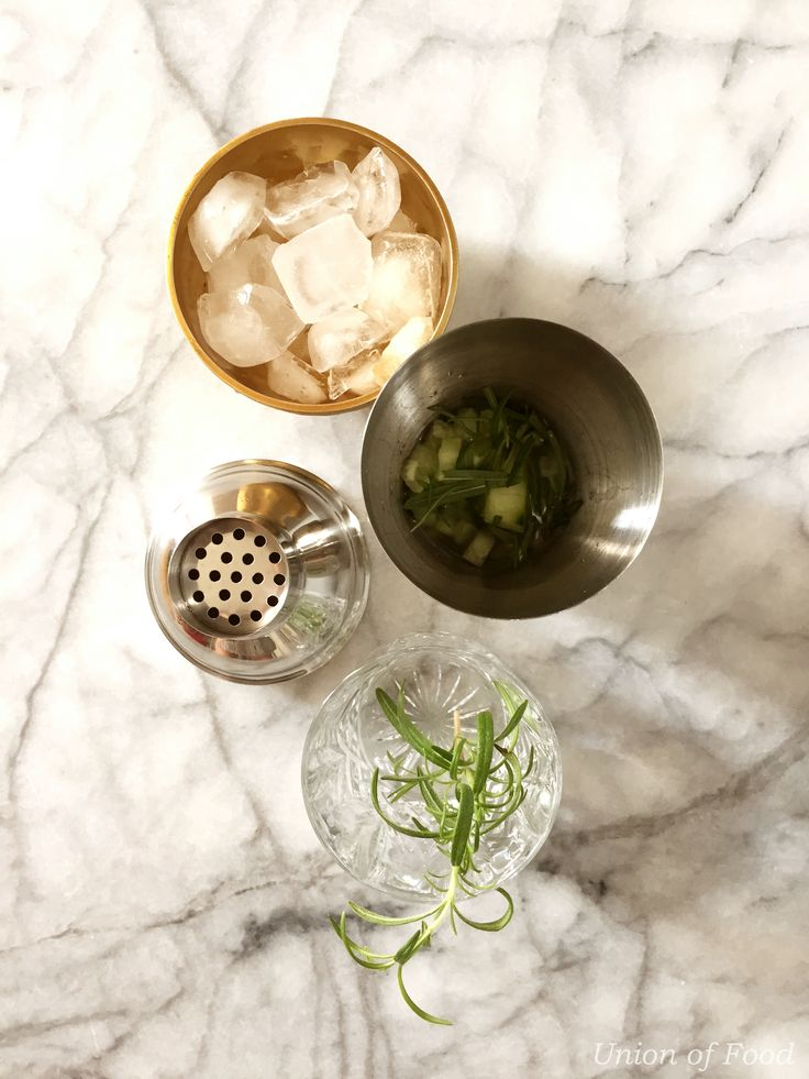 It's Five O'clock Somewhere: Rosemary and Cucumber Gin and Tonic — Union of Food Marble and Gold.