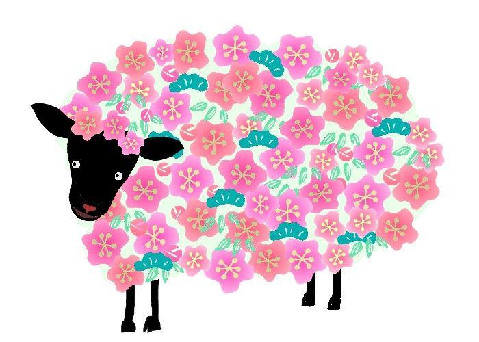 sheep//年賀状 羊のイラスト 松竹梅ひつじ 冬のイラスト素材 無料テンプレート