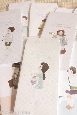kawaii slim CARTOON GIRL kids cute fancy Envelope set stationery love letter