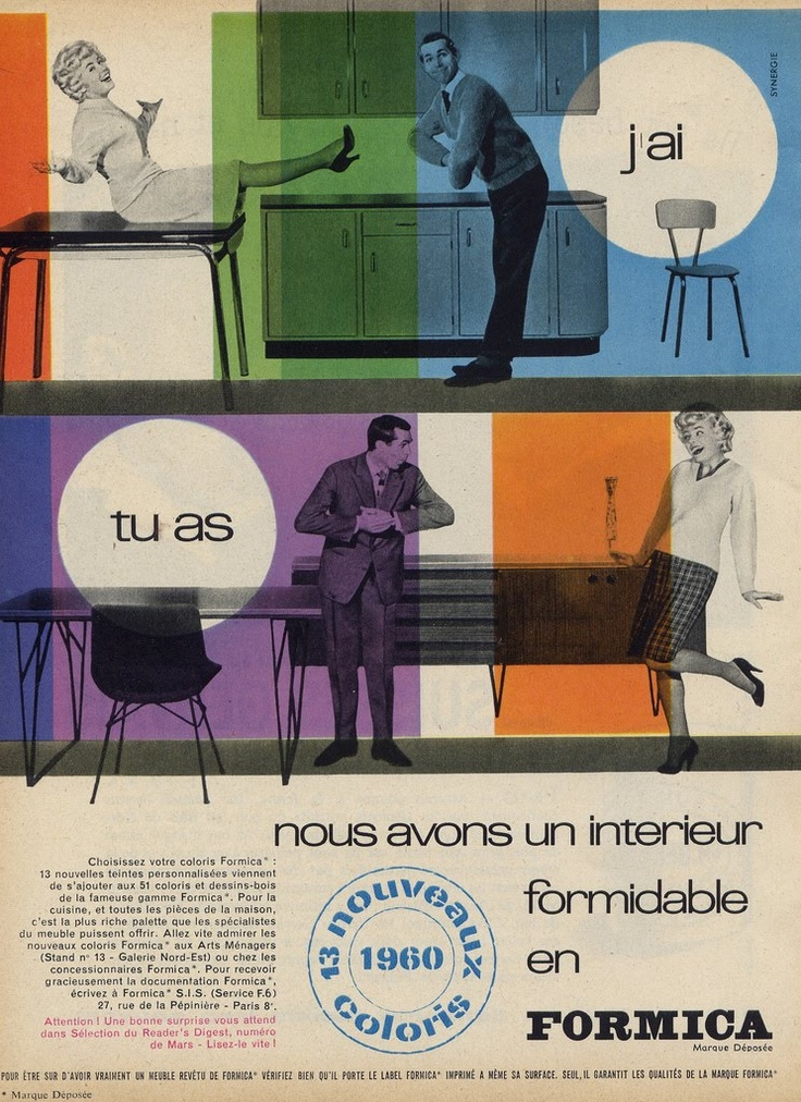 Formica! via Millie Motts: home  #Formica #60s ads #vintage french #midcentury advertising