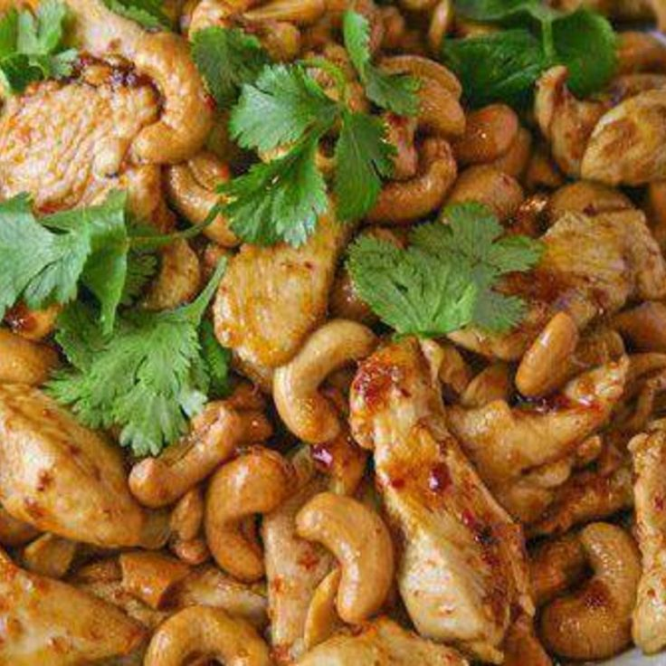 Original Recipe adapted from: Now You're Cookin'. I like extra cashews - add as many as you like. If you like the sauce and want to have some to pour over the chicken and the rice, double the sauce ingredients