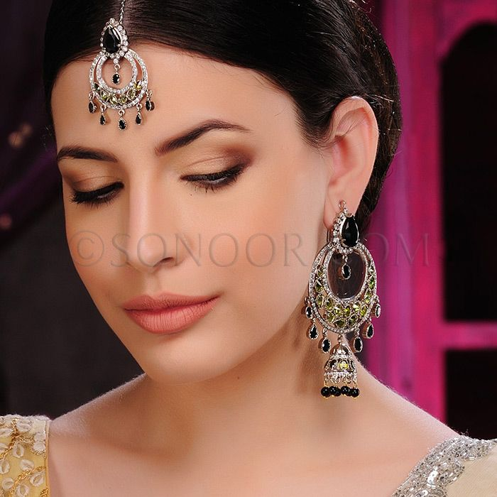 ACR/1/3406 Earrings with Maang Tika in silver victorian finish studded with peridot and black onyx  $168 £99