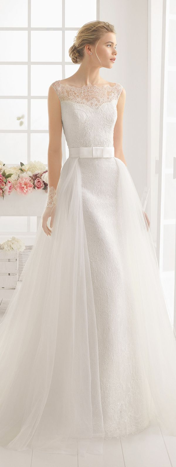 Aire Barcelona lace and ribbon wedding dresses 2016