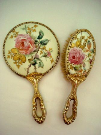 Hand painted mirror brush set Victorian roses and gold gilt