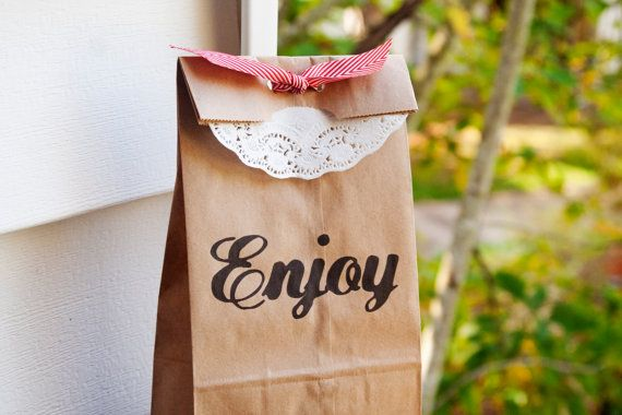 Enjoy Wedding Favor Bag Medium Brown Lunch Bag 25 by mavora, $27.50