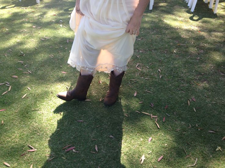 Boots! Yeap 2nd wedding 1 thing I learnt at my 1st was how uncomfortable heels were all day & dancing, so this time I went for comfort with a country flair..we had an outside vintage wedding!
