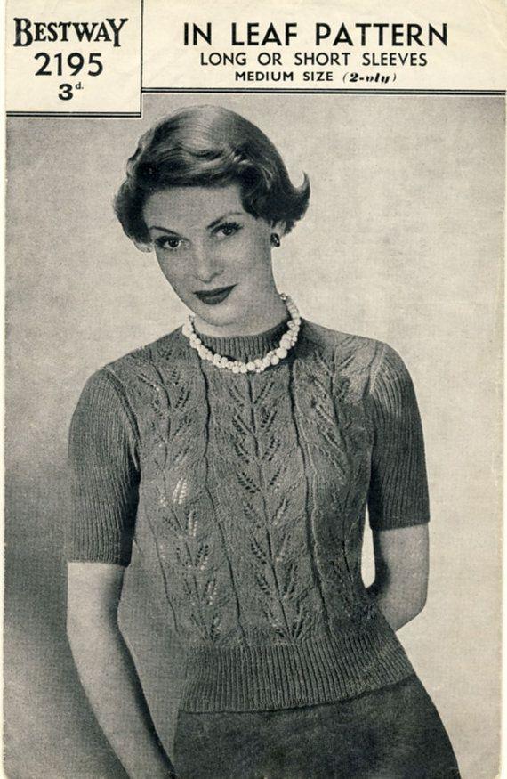 BESTWAY 2195  1940s Lady's Jumper With Lacy Leaf Pattern, by PatternaliaVintage