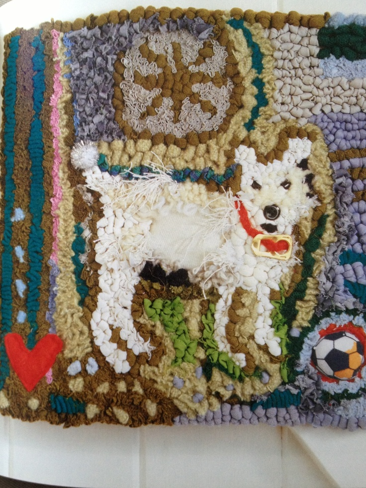 Spot the Dog  - hand hooked recycled fabrics Lizzie Reakes