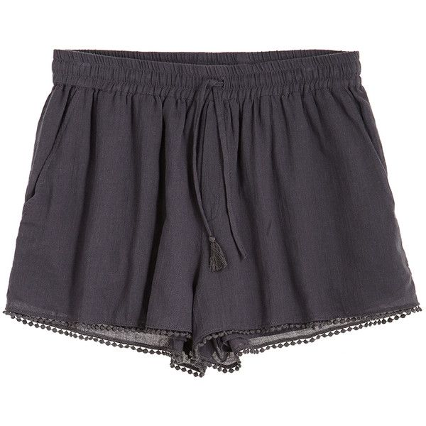 CALYPSO St. Barth Rowena Lace Trim Cotton Short ($40) ❤ liked on Polyvore featuring shorts, bottoms, pants, short, coal, lace trim shorts, cotton shorts, summer shorts, elastic waist shorts and elastic waistband shorts