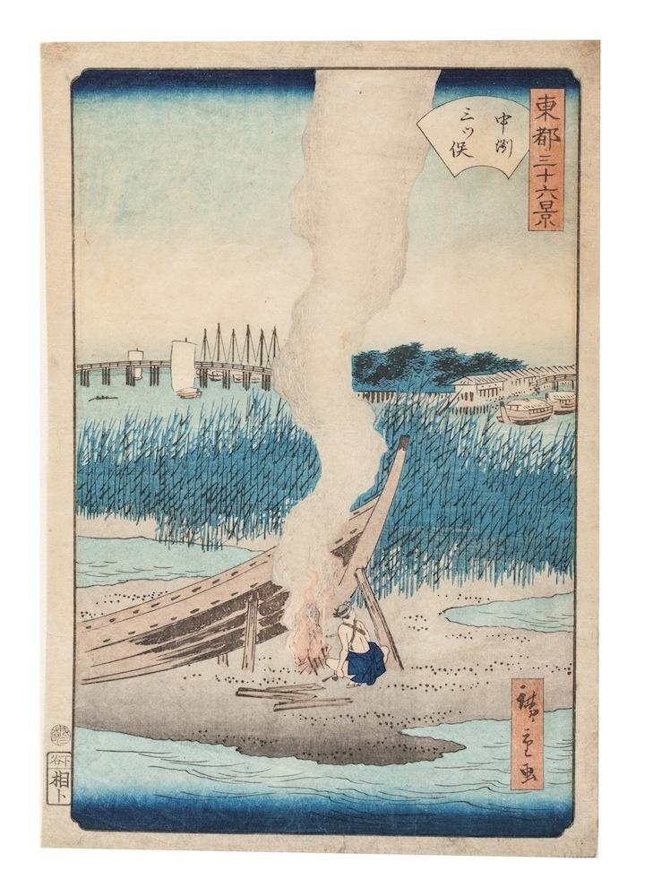 "Utagawa Hiroshige (1797-1858), ""Musashi Province: Sumida River, Snowy Morning"". Print, 1853."