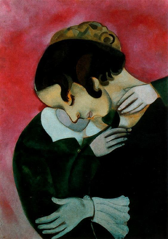 Lovers in pink - Marc Chagall