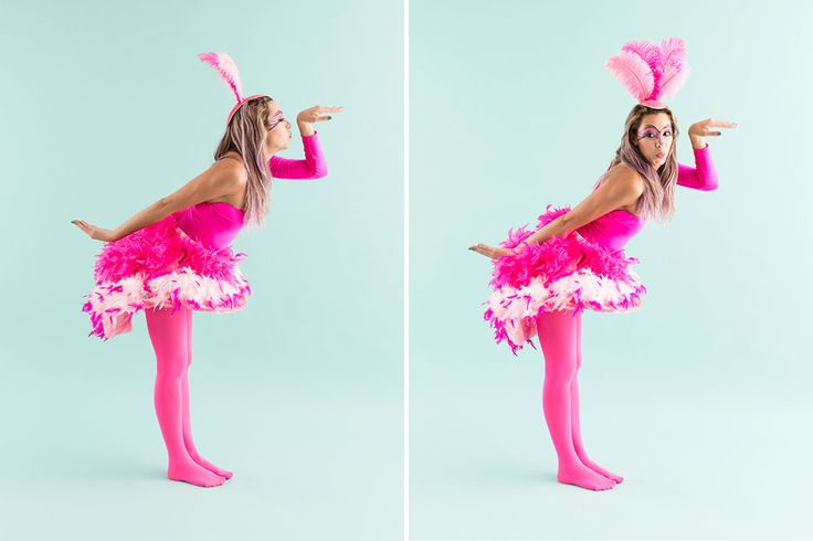 This flamingo costume is totally DIY.