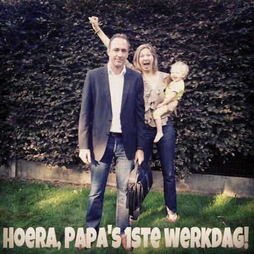 Back to work, Papa 1ste werkdag, end of vacation, einde vakantie
