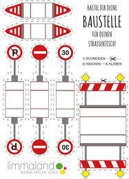 Eine Baustelle für Spielzeugautos selber basteln. Bastelvorlage für Kinder von Limmaland. // Free printable for kids: Construction signs.