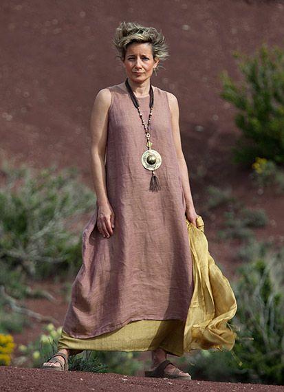Linen gauze tunic and silk sarouel skirt for summer 2013 //AMALTHEE CREATIONS