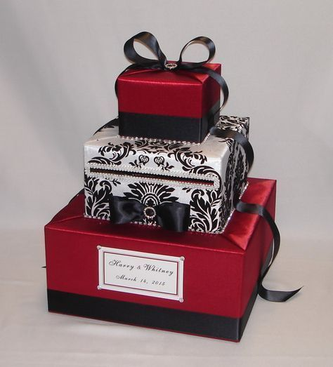 This handcrafted card box/money holder is the perfect touch for your wedding reception.Beautiful satin and damask fabric covered box in shape
