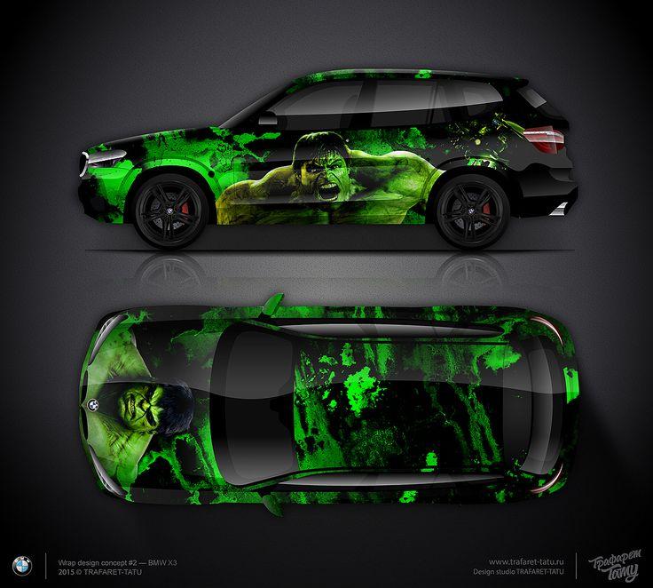 Design Consept  Hulk For BMW X Car Wrap Design Pinterest - Personalised car bmw x3 decals