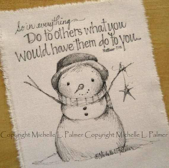 Winter Christmas Snowman Meadow Star Scripture Original pen ink illustration fabric quilt label by Michelle Palmer November 2013 ♥