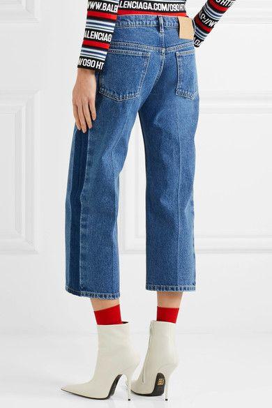Balenciaga - Rockabilly Cropped Mid-rise Wide-leg Jeans - Indigo - FR