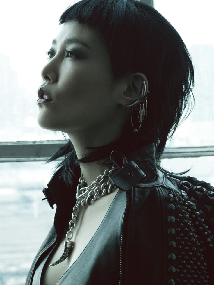 Japanese actress Rinko Kikuchi shows off her inner punk in studded leather and plaid for Jalouse China.