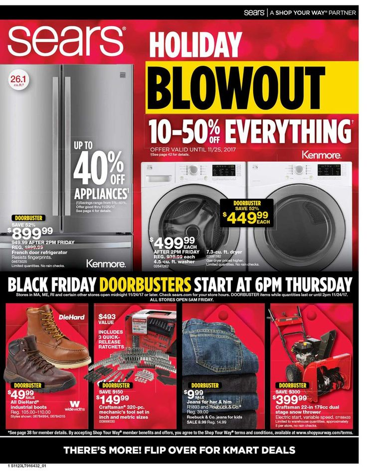 Sears Black Friday 2017 Ad Scan Deals and Sales #coupons  Sears 2017 Black Friday ad is here! Sears will open at 6PM on Thanksgiving and its doorbusters will end at 2PM on Black Friday. Check out this years Holiday Wish Book for some great gift finds! Sears is the leading home appliance retailer and also offers tools lawn & garden fitness equipment and automotive repair. Well known appliance brands like Kenmore Craftsman and Die Hard as well as apparel brands like Lands End the Kardashian…
