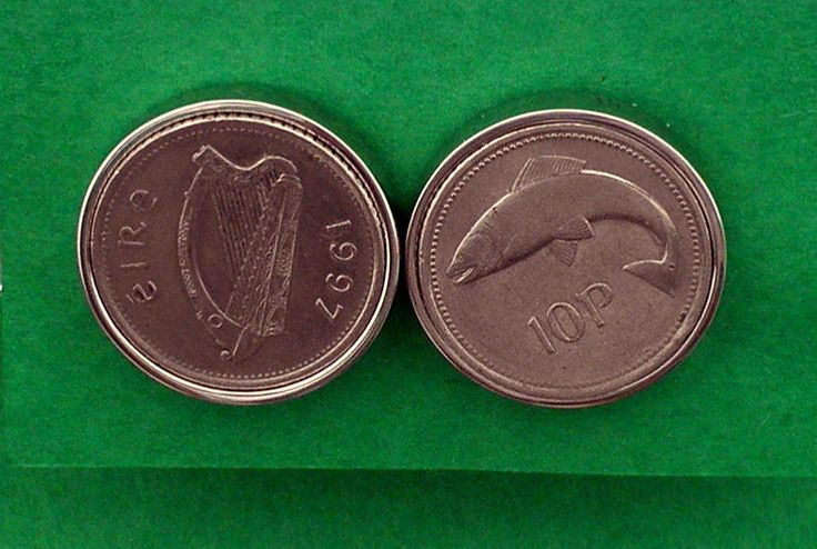 1997 Irish Salmon coin Cufflinks, Salmon of Knowledge, 10p Harp Coin, 20 Anniversary, See also 6 more Years Fisherman/Marine Biologist Gift by VintageIrishDresser on Etsy