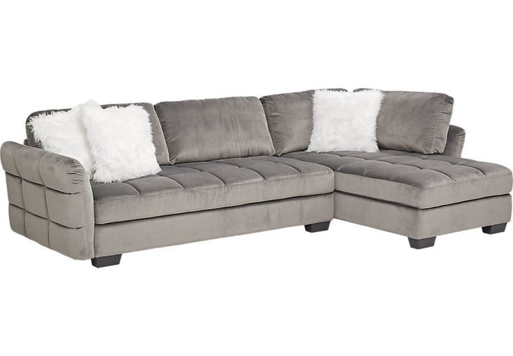 Largo Drive Gray 2 Pc Sectional-Living Room Sets (Gray)