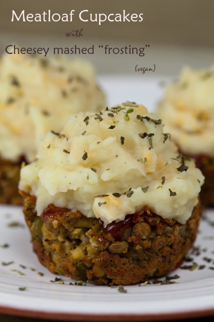 Meatloaf Cupcakes with Cheesy Mashed Potato Frosting
