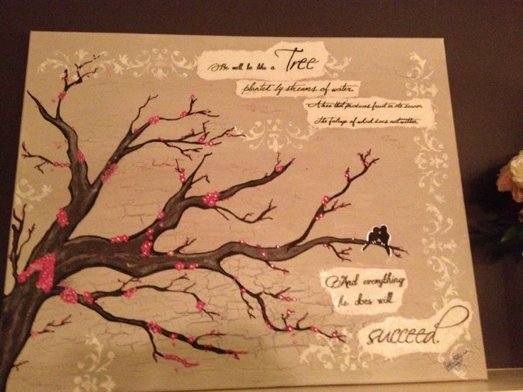 Painted Cherry Blossom Tree With Ps. 1:3 Quote On Canvas