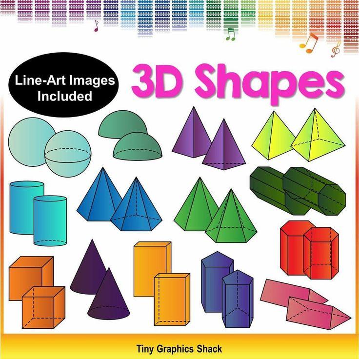 Geometry 3d shapes clip art:  sphere, hemisphere, cone, cylinder, cube, rectangular prism, pentagonal prism, hexagonal prism, octagonal prism, triangular prism, triangular-based pyramid, square-based pyramid, pentagonal pyramid, hexagonal pyramid