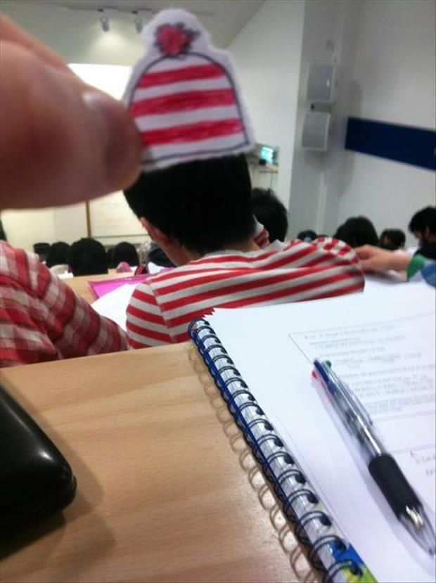 Bored in class? Sit in the back of the room and make little hats for the people in front of you! Why did I not do this in college??