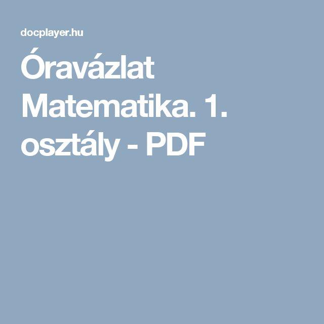 Óravázlat Matematika. 1. osztály - PDF