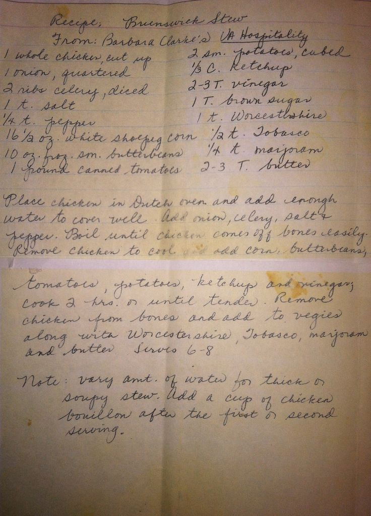 Brunswick Stew recipe, aww love the handwritten recipe