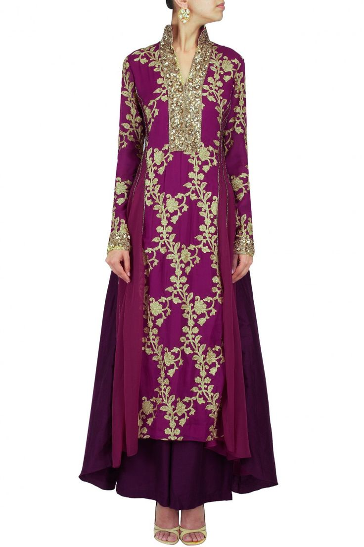 Mulberry asymmetrical embroidered pakistani kurta set available only at Pernia's Pop-Up Shop.