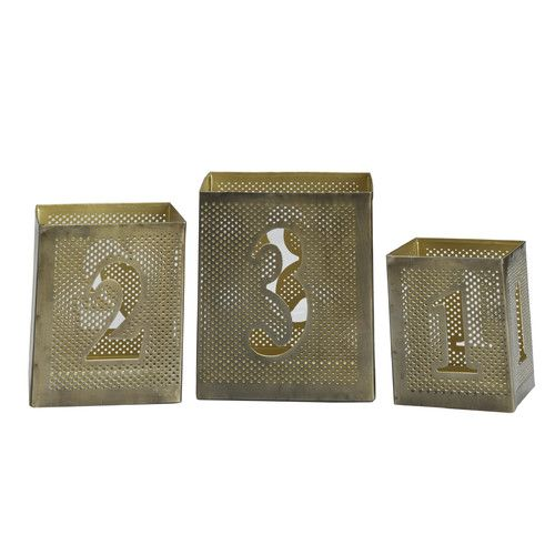 Found it at Wayfair - 3 Piece Metal Number Luminary Set