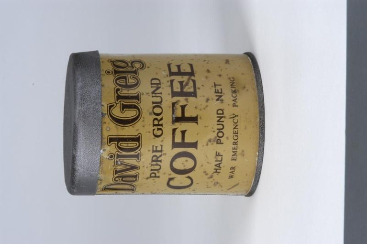 Second World War period tin of David Greig pure ground coffee (empty); British Home Front associations.