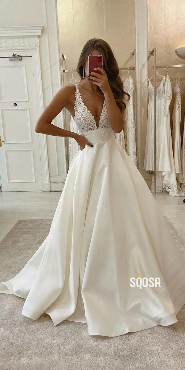 A Line V Neck Lace Appliques Satin Wedding Dress Bridal Gowns Qw0947 In 2020 Backless Bridal Gowns Backless Wedding Dress Wedding Dress Trends