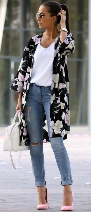 #summer #trendy #outfits |  Floral Kimono + White Tank + Denim
