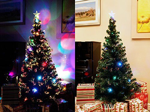 7 Ft Artificial Green Pre-lit Multi Color Fiber Optic Christmas Tree with Star Topper - http://www.christmasshack.com/christmas-trees/fiber-optic-christmas-trees/7-ft-artificial-green-pre-lit-multi-color-fiber-optic-christmas-tree-with-star-topper/