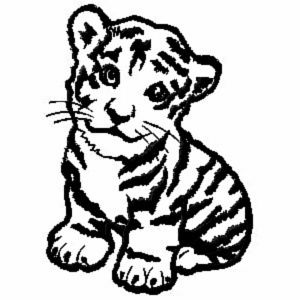 Baby Jungle Animals Coloring Pages Tiger Embroidery