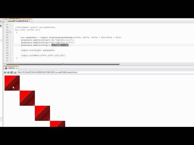 Corso HTML5 15 ITA: Canvas/2  figure vuote o riempite con gradienti di colore - #CSS #KomodoEdit #Corso #Guida #Html5 #ITA #Italiano #Javascript #Programmazione #Tutorial #Video http://wp.me/p7r4xK-Sq