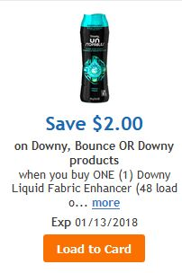 9.7 oz Gain Fireworks, Downy Unstopables/Fresh Protect for $2.49 or 80 Count Bounce Dryer Sheets for $1.49 at Kroger through 01/09!